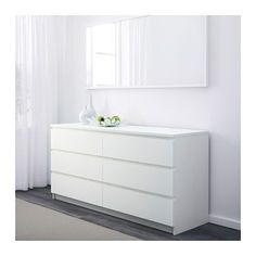 $269 W:160 x D:48 x H:78 | MALM Chest of 6 drawers - white - IKEA