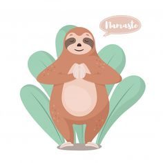 Vintage Grunge, Cute Sloth Pictures, Namaste Tattoo, Animal Yoga, Baby Sloth, Vector Art, Illustration, Drawings, Vector Background