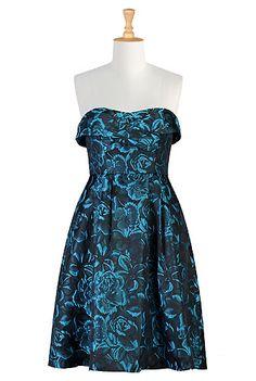 eShakti Night bloomer strapless dress - LOVE this fabric.