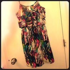 Summer Dress Satin material with different color feather print. Has adjustable straps and zipper in front. Very light weight and is great for a summer outfit! Says size medium 7-9 No Boundaries Dresses Mini