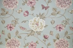 P/M Edinburgh Weavers Felicity Blue Floral & Butterfly Curtain Upholstery Fabric