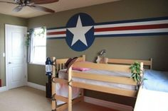"""Paint design taken from a vintage aircraft as part of an Indiana Jones boys room on """"Burlap and Denim"""" blog."""