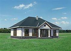 Elewacja tylna projektu Aleksandria - murowana - ceramika Compact House, Small House Plans, Home Fashion, Gazebo, Porch, Shed, Villa, Outdoor Structures, Cabin