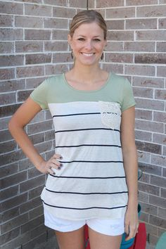 Green With Stripes Lace Pocket Tee | Jack & Monroe Boutique | Free Shipping | Your Spring/Summer wardrobe awaits!