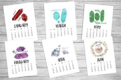 #2016 #printablecalendar #8.5x11 #watercolorcalendar #Calender #Calendar #Printable #watercolor #birthstones #gemstones #birthmonth #Christmasgift #holidaygift by #SouthPacific on #Etsy $9