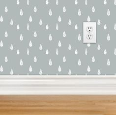 Raindrop Wallpaper, self adhesive wallpaper by the feet, fully removable, modern decor, gray nursery decor on Etsy, $10.00