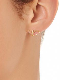 Diamond and yellow gold lobe earrings | Fernando Jorge