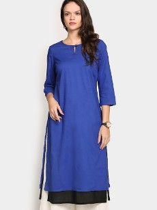 Fabindia Women Blue Regular Fit Kurta
