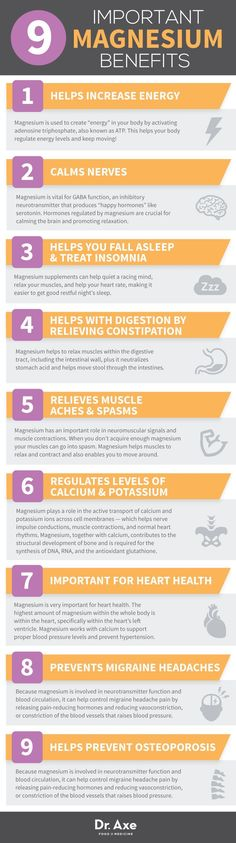 Important Magnesium Benefits. Helps increase energy Calms nerves Helps you fall asleep and treat insomnia helps with digestion by relieving constipation relieves muscle aches and spasms regulates levels of Calcium Potassium important for heart health Magnesium Benefits, Health Benefits, Magnesium Sleep, Magnesium Deficiency Symptoms, Food With Magnesium, Low Magnesium Symptoms, Magnesium And Migraines, Migraine, Useful Life Hacks