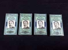 4 Vintage Gillette Razor Packs New Old Stock 20 Blades Barbershop Advertising