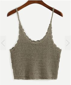 To find out about the Crop Crochet Cami Top - Khaki at SHEIN, part of our latest Tank Tops & Camis ready to shop online today! Crochet Cami Tops, Crochet Summer Tops, Crochet Bikini, Diy Crochet, Crochet Top, Casual Outfits, Cute Outfits, Crochet Fashion, Diy Clothing