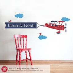 Kids Airplane Wall Decal Twin Seater Name Banner by graphicspaces, $55.00  We had this decal in the boys old room (and had to rip it down when we moved 2 months later)  Might get it again for their new room!