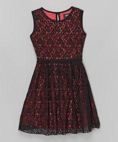 Look at this #zulilyfind! Black & Coral Lace Sash Dress by Btween #zulilyfinds