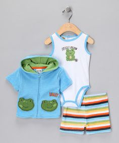 Take a look at this Green Stripe Shorts Set  by Baby Grand on #zulily today!