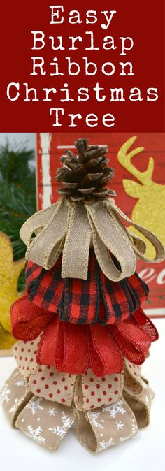 Easy Burlap Christmas Tree / Easy Holiday Crafts for Kids / Christmas Decor for home / #holidaycrafts