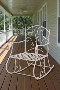 Metal Rocking Chair - White