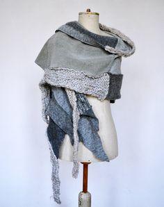Wool Felt Hand knited shawl Cozy warm light grey ash by ZOJKAshop...I MUST make this!!!! OMG