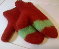 Red and Green Felted Mittens by DesignsbyFredericka on Etsy, $35.00