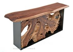 Modern Root Console Table with Live Edge Slab Top