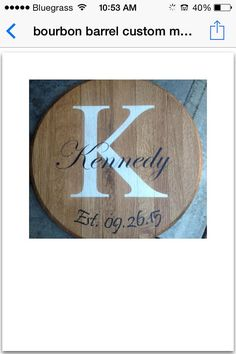 Repurposed Kentucky Bourbon/whiskey barrels heads (lids). Made from a white oak barrel. The barrel heads are 21 inches in diameter and 1 inches thick I can custom your order name, date intials or your logo.  Shipping prices varies to location that it is going. California is usually 23.00 depending exactly where and if I use UPS., Fed X, or USPS is also used is certain locations. Thank you for looking.  Kerrie