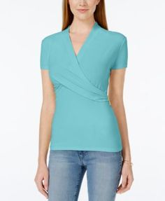 Charter Club Petite Crossover Wrap Top, Only at Macy's