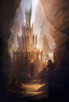 fantasy-art-engine: Castle in the Canyon by Keyart