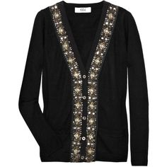 Tibi Embellished Wool-Blend Cardigan ($182) ❤ liked on Polyvore featuring tops, cardigans, jackets, tibi, women, beaded cardigan, beaded top, cardigan top, embellished cardigan and button front top