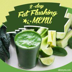 2-Day Fat Flushing Menu- Try it this weekend!! #fatflush #weightloss