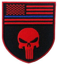 Velcro Black and Red Skull Design with Thin Blue Line Police Devgru Tactical Seal Team Punisher American Flag Patch By Patch Squad