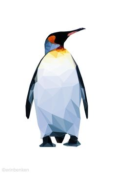 Low Res Poly  #graphicdesign #penguin #triangles Geometric Wallpaper, Geometric Art, Geometric Animal, Penguin Tattoo, Penguin Art, Low Poly, Penguin Illustration, Animal Drawings, Art Drawings