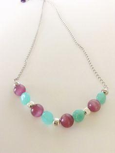 Statement Necklace/ Aqua Seafoam Beads/ Violet by Persicalia, $29.49