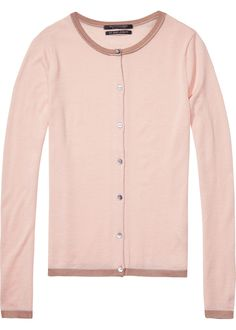 Maison Scotch Cardigan uld rosa 134189 Basic Wool Cardigan combo B – Acorns