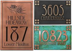 "Cottage name > street address > est. 2012  -  by: Atlas Signs  -  material: Metal over a HDU base -  color: Raised Copper Patina  -  size: 16"" x 16""  -  $350.00    -  Threaded eyelet for hanging on stake or bracket addition: http://www.etsy.com/listing/129550862/threaded-eyelet-for-hanging-on-stake-or?ref=shop_home_active  -  $6.50"