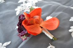 Orange Orchid & Purple Hydrangea by ChillieBreezeDesigns on Etsy