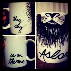 "Chronicles of Narnia ""They Say Aslan is on the Move"" Hand-designed Mug. $7.00, via Etsy."