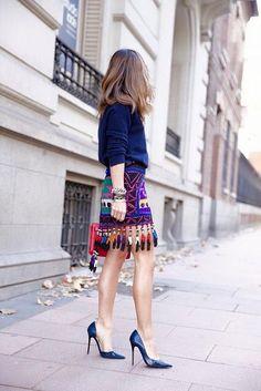 Stylish women#multicolor#skirt#blue#elegant#brunette#highheels#simple#stylish