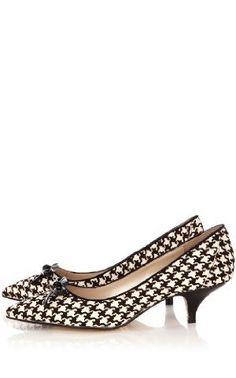 Add texture to a black suit? Heel height a smart choice for a day on my feet.    Karen Millen Pony Kitten Heel : Shoes