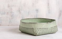 Mint green Ceramic bowl, Ceramic salad bowl, polka dot Modern serving bowl, decorative bowl, fruit bowl, Housewarming gift