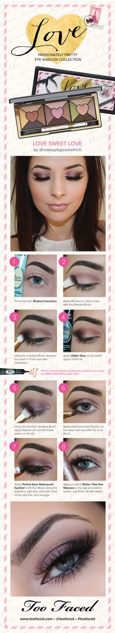Check out this beautiful how-to look from blogger Jess Helfrich using the new #TooFaced Love Palette. #Sephora #HowTo
