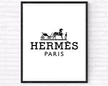 Hermes Paris Printable, Hermes Paris Logo Art, Beauty and Fashion Print, Makeup wall