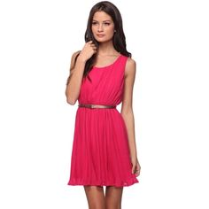 Fuchsia Pleated Ruffle Skater Dress Gold Belt M This hot pink magenta pleated dress features an elasticized waist with a metallic faux leather belt. Sleeveless. Round neckline. Ruffled hemline. Fully lined. Woven. Lightweight. Forever 21 Dresses Mini