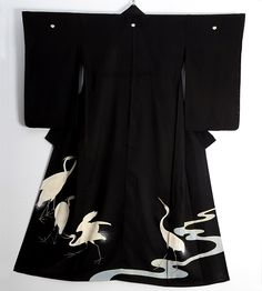 Ro Silk Kimono in Black with hand painted and embroidered Egrets.