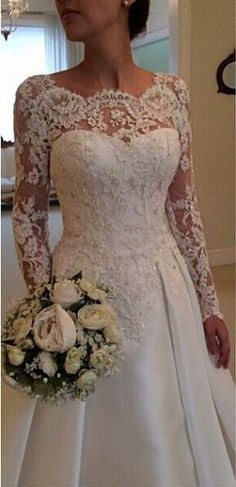 Online Shop 2016 Elegant Vestido De Renda Lace Long Sleeve Wedding Dress Open Back A Line Bridal Gowns Plus Size Satin Wedding Dresses 2018, Wedding Attire, Bridal Dresses, Dresses Dresses, Party Dresses, Long Dresses, Italian Wedding Dresses, Dresses 2016, Event Dresses