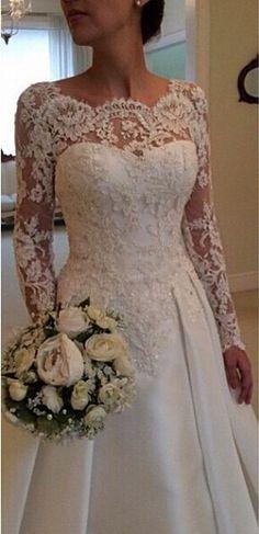 Nova moda vestidos de noiva 2015 Romantic Lace Appliqued vestido de noiva tribunal trem line ver embora mangas compridas vestido de noiva em Vestidos de noiva de Casamentos e Eventos no AliExpress.com | Alibaba Group