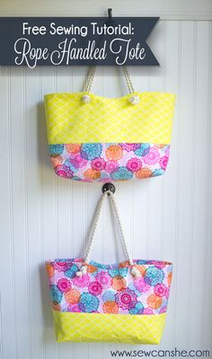 Rope Handled Tote {easy tutorial + giveaway} — SewCanShe | Free Daily Sewing Tutorials