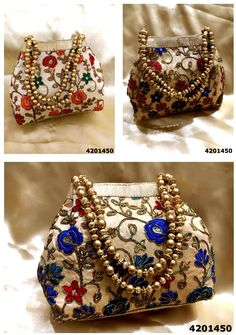 #Stylish #Fashionable Ladies Designer Bags & Clutches At Unbelievable Prices From The Very Huge Variety Of Imported Bags,Potli Bags,Ethnic Bags,Box Clutches,Digital Print Bags(All Physical Stock Available) We Supply To Wholesalers,Shopkeepers,Boutiques,Export Houses,Exhibitors Etc(Whats App At +91-8882376001) #potlibags #boxclutch #slingbag #ethnicbags #importedbags #digitalprintbags Handmade Pearl Jewelry, Embellished Purses, Bridal Handbags, Potli Bags, Ethnic Bag, Bridal Clutch, Ideias Diy, Jute Bags, Boho Bags