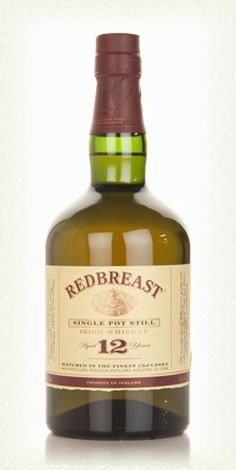 Redbreast Irish Whiskey   Redbreast is an Irish pot still whiskey (12 yrs) that began in 1903 with Jameson. Today it is made in Middleton Distillery. Most definitely worth the price.