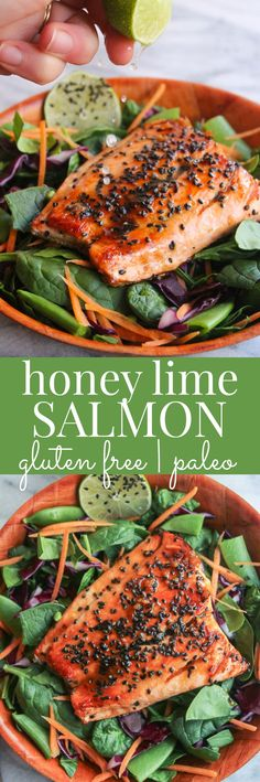 Use arrowroot and coconut aminos to make paleo friendly! Honey Lime Salmon| easy + healthy 15 minute dinner that's gluten free & paleo friendly