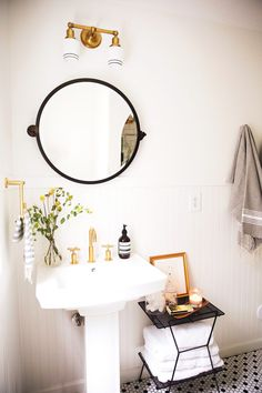 This Striped Hand Towel adds a pretty pattern in New Darlings' bathroom reveal!
