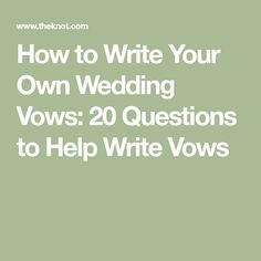 The vows are one of the most important parts of your wedding ceremony. Considering writing your own, this article might help. How to Write Your Own Wedding Vows: 20 Questions to Help Write Vows Real Wedding Vows, Writing Wedding Vows, Writing Vows, Writing Your Own Vows, Wedding Vows To Husband, Plan Your Wedding, Wedding Tips, Wedding Ceremony, Destination Wedding